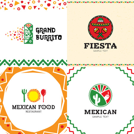 Mexican Burrito Food logo design set. Vector traditional meal illustration background. Colorful sign symbol for cafe, restaurant, fast food, truck. Ethnic cuisine label with cactus, maracas, sombrero