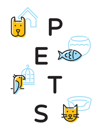 Pet shop banner template with vector graphic icon set. Card flyer poster illustration for veterinary clinic, zoo, petfood. Flat style design with cat, dog, fish, bird and related signs 矢量图像