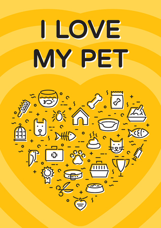 I Love My Pet banner template with vector graphic icon set in heart form. Card flyer poster illustration with your text for veterinary clinic, zoo. Flat style design with cat, dog, fish, bird and etc