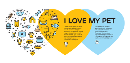 I Love My Pet banner template with vector graphic icon set in heart form. Flat style design with cat, dog, fish, bird and etc. Card flyer poster illustration with your text for veterinary clinic, zoo