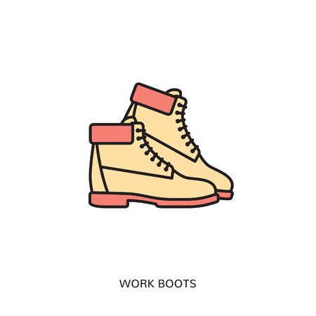 work boots icon design template. Illustration
