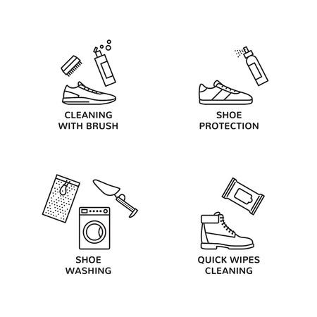 Sneaker Cleaning Design Template Set Stock Vector