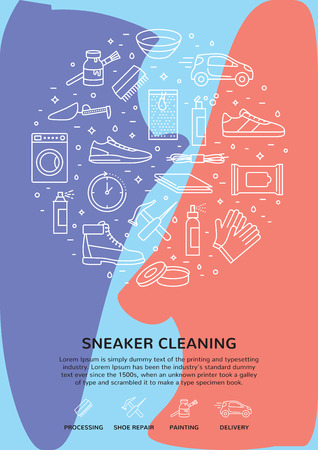 sneaker cleaning icon template set.