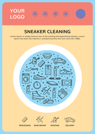 Colorful poster illustration with sneaker cleaning icons. Çizim