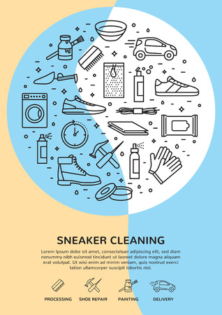 Modern sneaker cleaning icon template banner. Vector poster illustration showing set of pictograms about process, shoe repair, accessories with place for text. Trainer shoe sign and symbol set