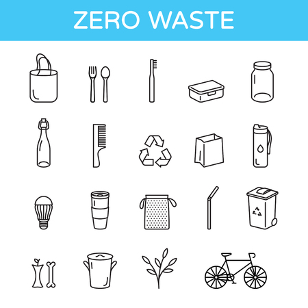 """Vector Zero Waste logo design template set. Eco life style sign and symbol collection. No Plastic and Go Green concept. Outline icon illustration of  """"Refuse Reduce Reuse Recycle Rot"""""""