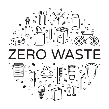 Vector Zero Waste logo design template set. Linear icon illustration of  Refuse Reduce Reuse Recycle Rot. No Plastic and Go Green background in circle form. Ð•co lifestyle sign and symbol collection