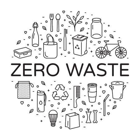 Vektor-Null-Abfall-Logo-Entwurfsschablonensatz. Lineare Symbolillustration von Müll reduzieren Wiederverwendung recyceln Rot. Kein Kunststoff und Go Green Hintergrund in Kreisform. Ð • Co-Lifestyle-Zeichen- und Symbolsammlung Logo