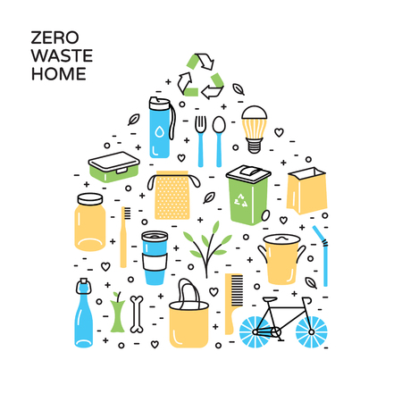 Vector Zero Waste Home icon template set. No Plastic and Go Green concept, banner. Eco lifestyle sign and symbol poster collection. Color line icon illustration of  Refuse Reduce Reuse Recycle Rot