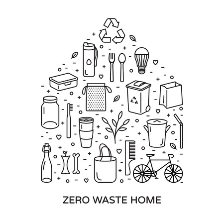 Zero Waste Home icon template set. Vector eco lifestyle sign and symbol poster collection. Outline icon illustration of  Refuse Reduce Reuse Recycle Rot. No Plastic and Go Green banner concept