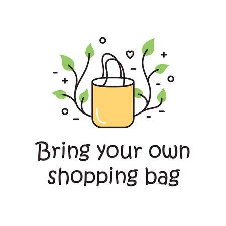 Vector Bring Your Own Shopping Bag background template. Color outline icon banner for shop, market. Zero Waste Illustration Poster. No Plastic and Go Green concept