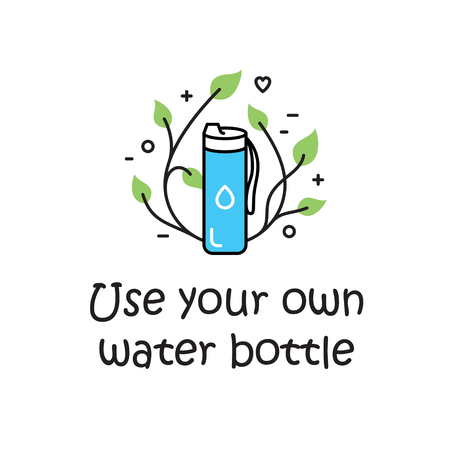 Vector Use Your Own Water Bottle background template. Zero Waste Illustration Poster. Color outline icon banner. No Plastic and Go Green concept