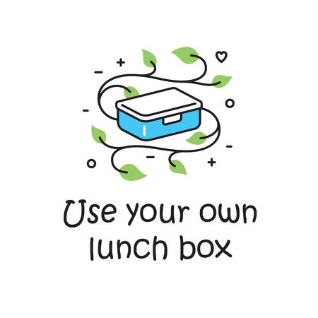 Vector Gebruik uw eigen lunchbox-achtergrondsjabloon. Geen Plastic and Go Green-concept. Nul afval illustratie poster. Kleur overzicht pictogram banner Vector Illustratie