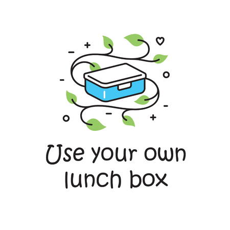 Vector Use Your Own Lunch Box background template. No Plastic and Go Green concept. Zero Waste Illustration Poster. Color outline icon banner