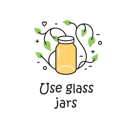Vector Use Glass Jars background template. Zero Waste Illustration Poster. Color outline icon banner. No Plastic and Go Green concept Stock Vector - 111401149