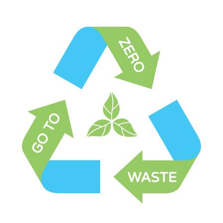 Vektor gehen Sie zu Zero Waste Hintergrundvorlage. Illustration Poster von Pfeil-Recycling-Symbol-Zeichen mit Pflanze. Farblogo-Design-Banner. Kein Plastik und Go Green Konzept Logo