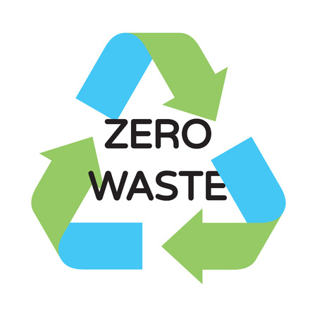 Vector Zero Waste logo design template. Arrow recycle sign poster. Colorful icon banner background. No Plastic and Go Green concept. Illustration of  Refuse Reduce Reuse Recycle Rot Illustration