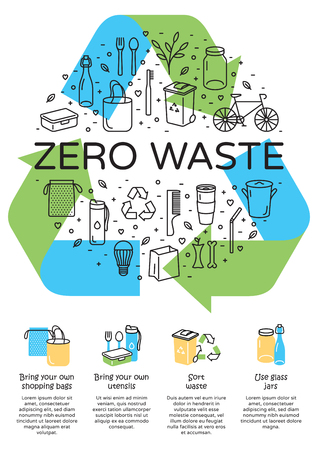 Vector Zero Waste logo design, banner. Arrow recycle sign poster with place for text. Color icon banner background. No Plastic and Go Green concept. Illustration of Refuse Reduce Reuse Recycle Rot