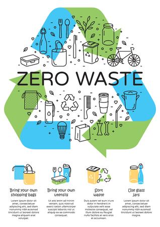 Vector Zero Waste logo design, banner. Manifesto del segno di riciclo della freccia con il posto per testo. Fondo dell'insegna dell'icona di colore. No Plastic and Go Green concept. Illustrazione di Rifiuti Riduci Riutilizza Ricicla Rot