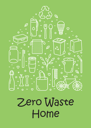 Vector Zero Waste Home icon set, banner. Color line illustration background of  Refuse Reduce Reuse Recycle Rot. Eco lifestyle house poster template. No Plastic and Go Green design concept