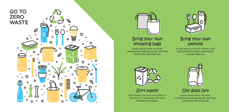 Przejdź do szablonu tła Zero Waste. Wektor ilustracja zestaw ikon plakat z miejscem na tekst. Brak koncepcji Plastic and Go Green. Szablon baneru projektu kolorystycznego Odrzuć Zmniejszenie ponownego wykorzystania Recyklingu Rot .