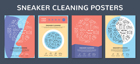 Vector sneaker cleaning poster template set. Modern banner illustrations showing set of icons about process, shoe repair, accessories with place for text. Trainer shoe sign and symbol pictogram cards