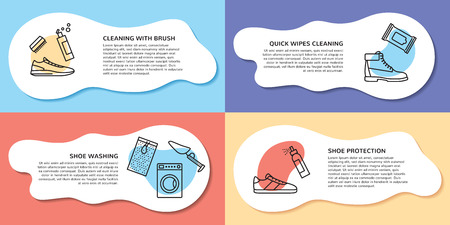 Poster page layout for sneaker cleaning web site. Vector trainer washing and protection design concept, banner. Outline icon illustration showing shoe clean process and accessories with place for text Illustration