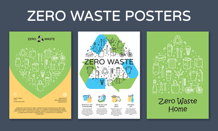 Zero Waste icon design banners. Vector set of poster templates with place for text. No Plastic and Go Green concept. Color outline illustration background of Refuse Reduce Reuse Recycle Rot Stock Vector - 112990001