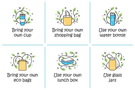 Utilisez des vecteurs et apportez votre propre tasse, sac à provisions, modèles de bouteilles d'eau. Bannières d'icônes de contour de couleur pour boutique, marché. Ensemble d'affiches d'illustration zéro déchet. Aucun arrière-plans de concept Plastic et Go Green Vecteurs