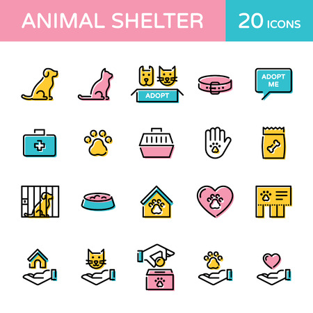 Animal shelter logo design template set. Vector cat and dog help sign and symbol collection. Thin line web icon illustration background. Linear pictograms of pet care, adoption, donation and more