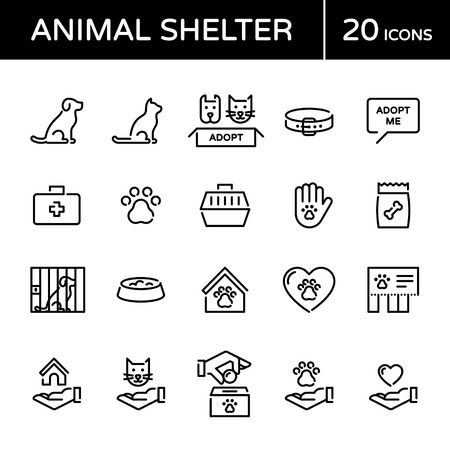 Vector animal shelter logo design template set. Outline web icon illustration background. Cat and dog help sign and symbol collection. Linear pictograms of pet care, adoption, donation and more