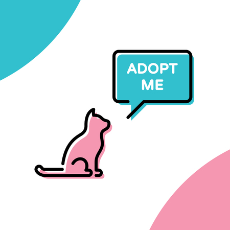 Vector Adopt Me design poster with cat. Don't Buy banner. Linear icon illustration with speech bubble on background. Colorful linear pictogram banner showing pet adoption, homeless animals help