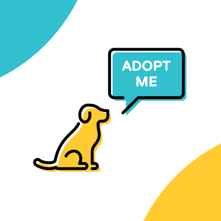Adopt Me design poster with dog. Vector Don't Buy banner. Colorful linear pictogram banner showing pet adoption, homeless animals help. Linear icon illustration with speech bubble on background Stock Vector - 114473094