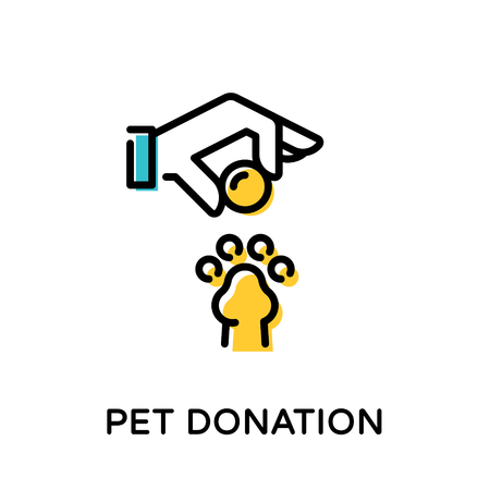 Pet Donation icon logo design template. Vector helping hand with money and paw illustration background. Color symbol logotype for animal volunteer organization, center and fundraising event