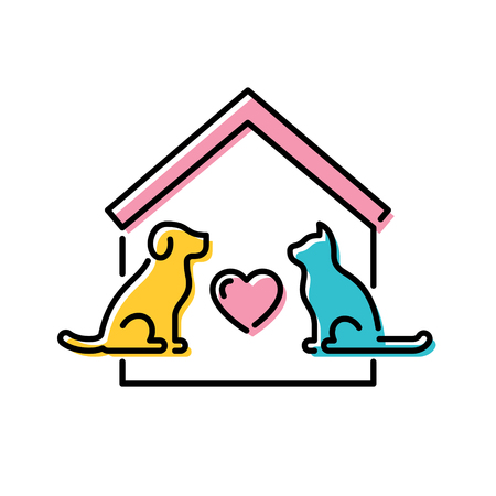 Vector Adopt A Pet design poster with cat and dog. Don't Buy banner. Line icon illustration with house and heart on background. Colorful linear pictogram banner showing animal adoption, homeless help