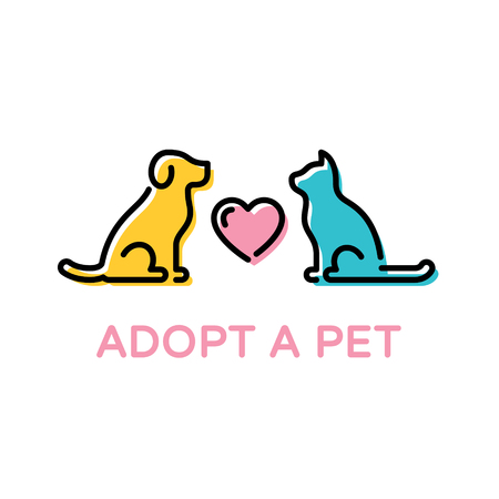 Adopt A Pet design poster with dog and cat. Vector Don't Buy banner. Color linear pictogram banner showing animal adoption, homeless help. Linear icon illustration with heart on background Standard-Bild - 114473097