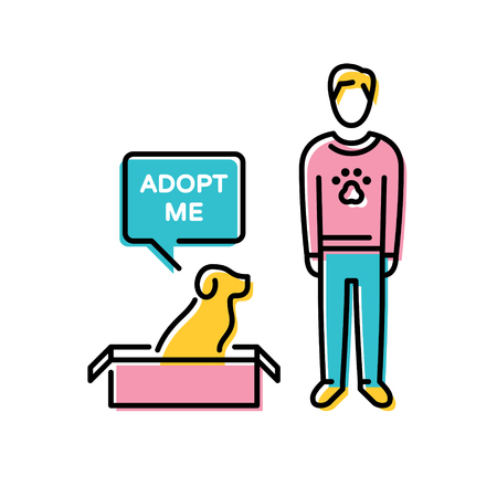 Vector Adopt A Pet design poster with dog in box. Don't Buy. Color pictogram banner showing animal adoption, homeless help. Linear icon illustration with a man and a speech bubble on background