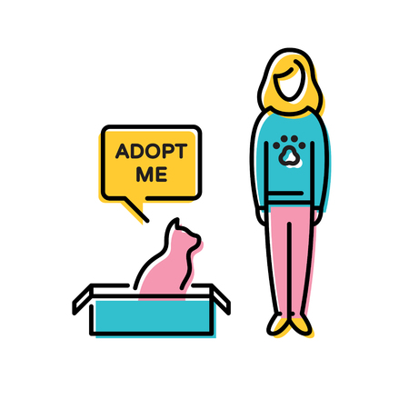 Vector Adopt A Pet design poster with cat in box. Linear icon illustration with a girl and a speech bubble on background. Color pictogram banner showing animal adoption, homeless help.Don't Buy Illustration
