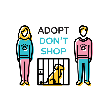 Adopt Don't Shop design poster with dog in cage. Don't Buy. Vector pictogram banner showing animal adoption, homeless help. Linear icon illustration with man and woman on background