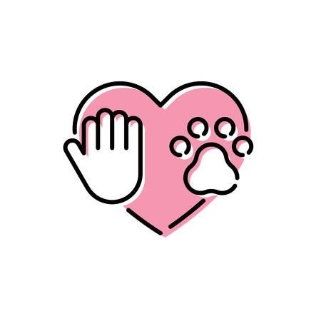 Love my pet logo design template. Vector icon banner with paw, hand and heart. Color linear pictogram poster showing animal protection, adoption, shelter, charity. Linear card illustration background Vettoriali