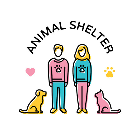 Vector Animal Shelter design poster with cat and dog. Don't Buy. Adopt a pet. Linear icon illustration with man, woman, heart, paw. Pictogram banner showing animal adoption, care, homeless help