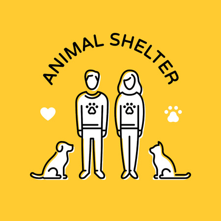 Animal Shelter design poster with cat and dog. Don't Buy. Adopt a pet. Pictogram banner showing animal adoption, care, homeless help. Vector line icon illustration with man, woman, heart, paw