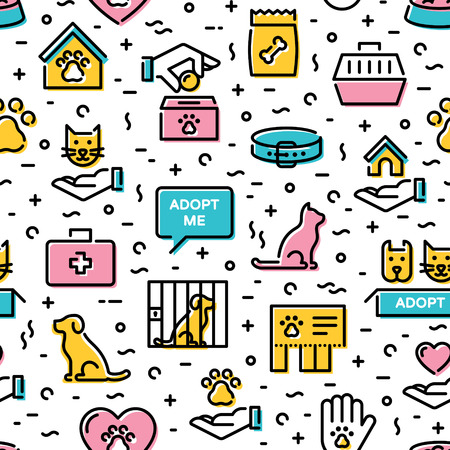 Vector animal shelter icon seamless pattern. Thin line web icon illustration background. Cat and dog help sign and symbol set. Color linear pictogram texture of pet care, adoption, donation and more