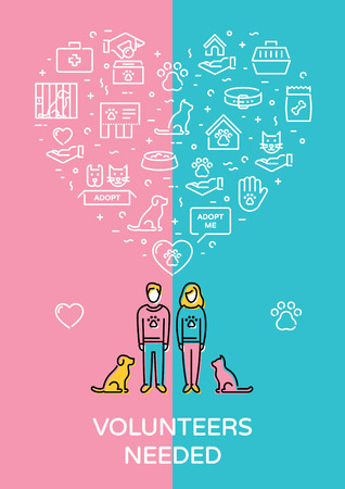 Vector Volunteers Needed for animal charity banner. Heart icon poster showing pet adoption, care, homeless help, support with place for text. Linear pictogram illustration with man, woman, cat, dog