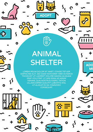Animal shelter icon banner template. Line pictogram poster of pet care, adoption, donation with circle. Dog and cat help sign and symbol set.Vector flyer illustration background with place for text