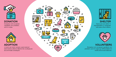 Vector animal help icon banner. Line pictogram web poster of pet donation, charity, adoption, shelter, volunteers. Flyer illustration background with heart and place for text.Dog and cat care sign set Stock Vector - 114473118