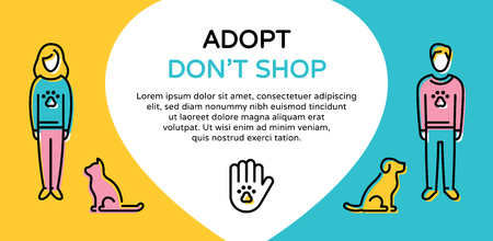 Vector Adopt Don't Shop design poster with dog, cat, paw. Don't Buy.Color banner showing animal adoption, homeless pet help. Line icon illustration with man, woman and helping hand with place for text Stock Vector - 114473119