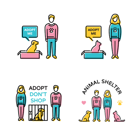 Vector Adopt Don't Shop design poster set. Color animal shelter banner illustrations showing pet adoption, homeless help, care. Linear icon  templates with dog, cat, man, woman, heart, paw