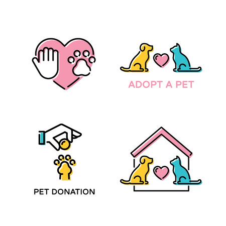 Vektor-Haustierliebe-Design-Plakat-Set. Farbige Tierbanner-Illustrationen, die Haustieradoption, Wohltätigkeit, Spende, Obdachlosenhilfe zeigen. Lineare Symbolvorlagen mit Hund, Katze, Herz, Pfote, helfende Hand, Haus