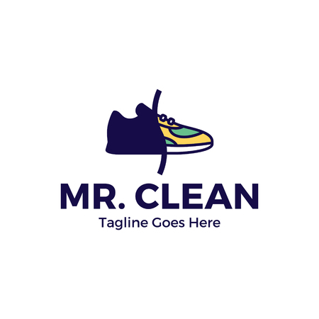 Vector Sneaker Cleaning  design template. Color outline shoe icon of processing, washing shoe with cleaners for company, business. Trainer clean label illustration background Stock Vector - 116950046